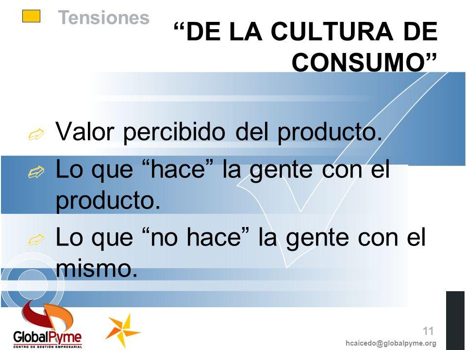 Tensiones DE LA CULTURA DE CONSUMO Valor percibido del producto. Lo que hace la gente con el producto. Lo que no hace la gente con el mismo. hcaicedo@