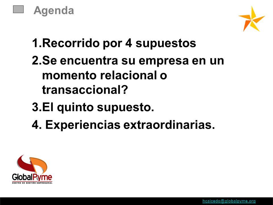Agenda 1.Recorrido por 4 supuestos 2.Se encuentra su empresa en un momento relacional o transaccional? 3.El quinto supuesto. 4. Experiencias extraordi