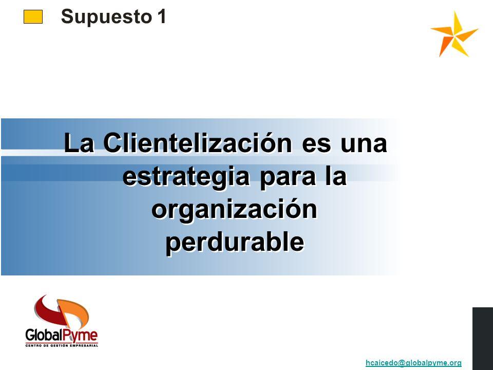 Supuesto 1 La Clientelización es una estrategia para la organización perdurable hcaicedo@globalpyme.org