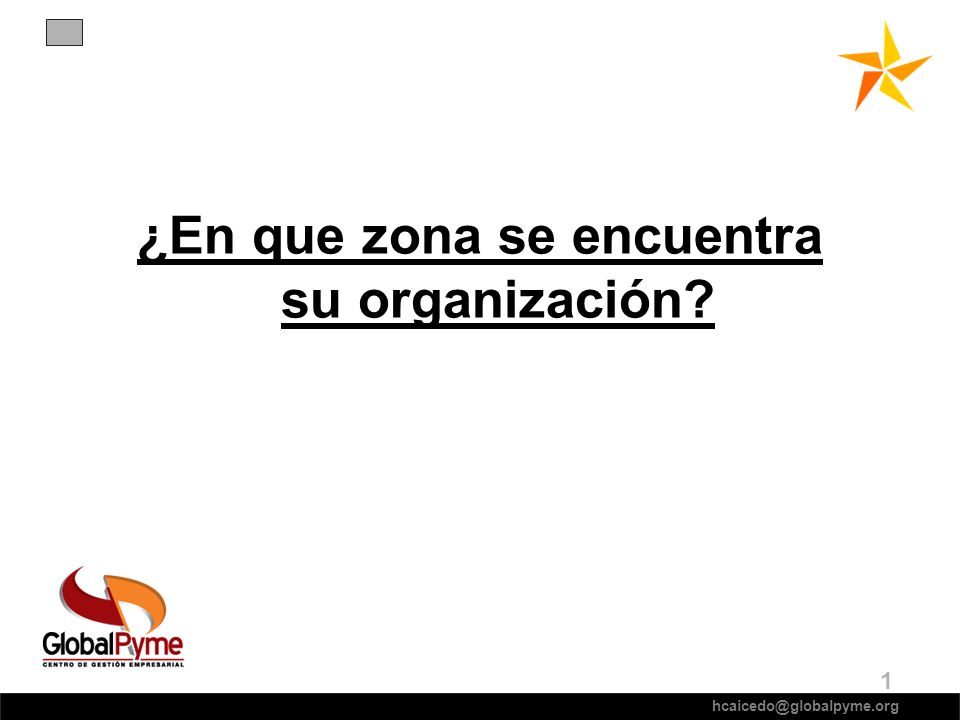 ¿En que zona se encuentra su organización? hcaicedo@globalpyme.org 1