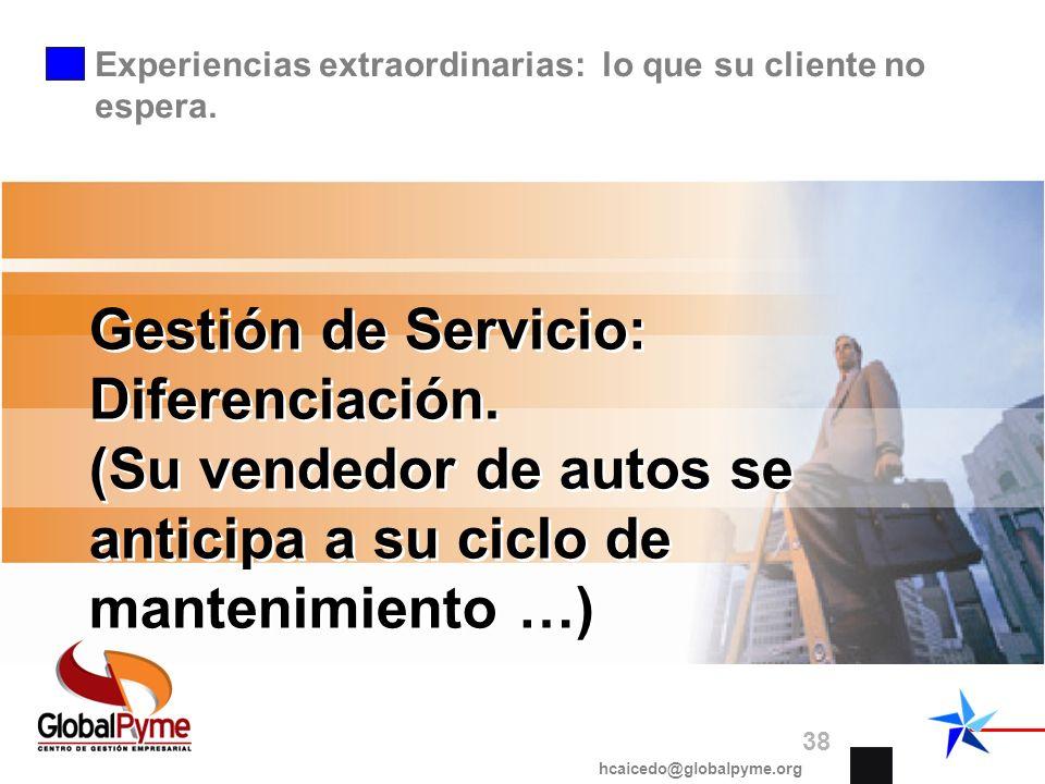 Gestión de Servicio: Diferenciación. (Su vendedor de autos se anticipa a su ciclo de mantenimiento …) hcaicedo@globalpyme.org 38