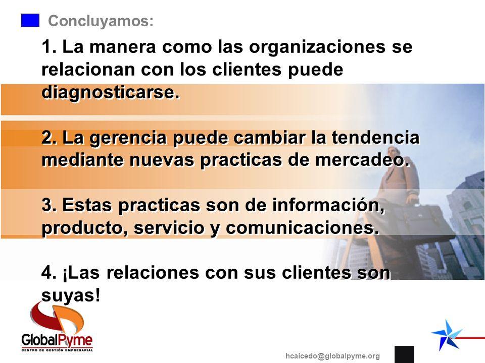 Concluyamos: 1. La manera como las organizaciones se relacionan con los clientes puede diagnosticarse. 2. La gerencia puede cambiar la tendencia media