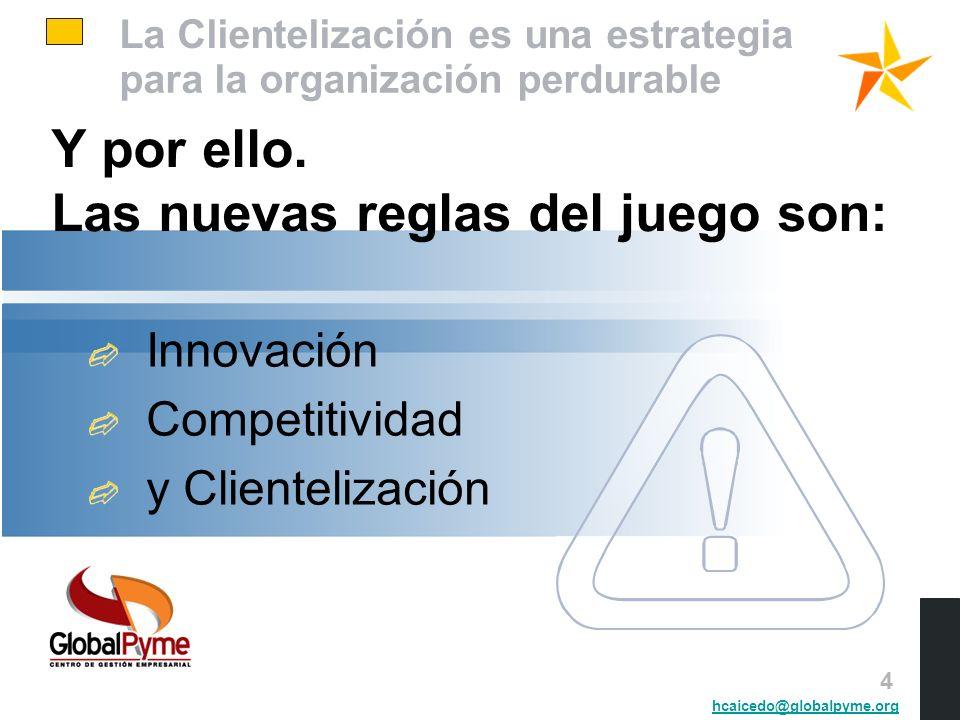 La Clientelización es una estrategia para la organización perdurable Y por ello. Las nuevas reglas del juego son: Innovación Competitividad y Clientel