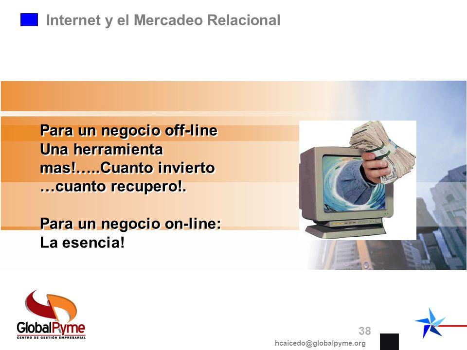 Internet y el Mercadeo Relacional Para un negocio off-line Una herramienta mas!…..Cuanto invierto …cuanto recupero!. Para un negocio on-line: La esenc