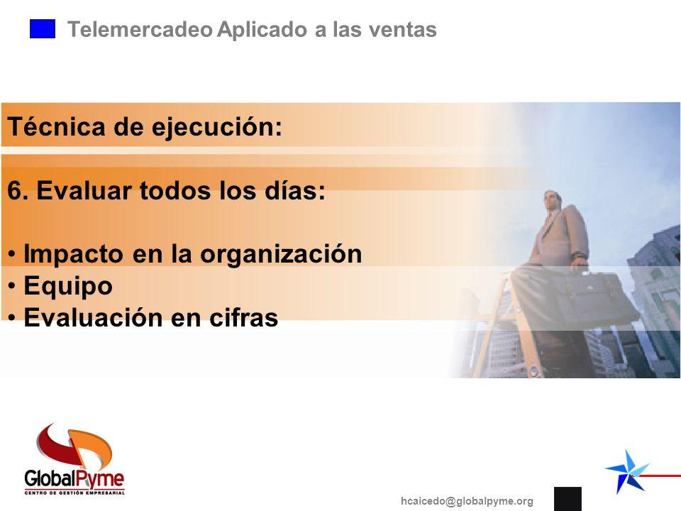Telemercadeo Aplicado a las ventas hcaicedo@globalpyme.org Técnica de ejecución: 6. Evaluar todos los días: Impacto en la organización Equipo Evaluaci