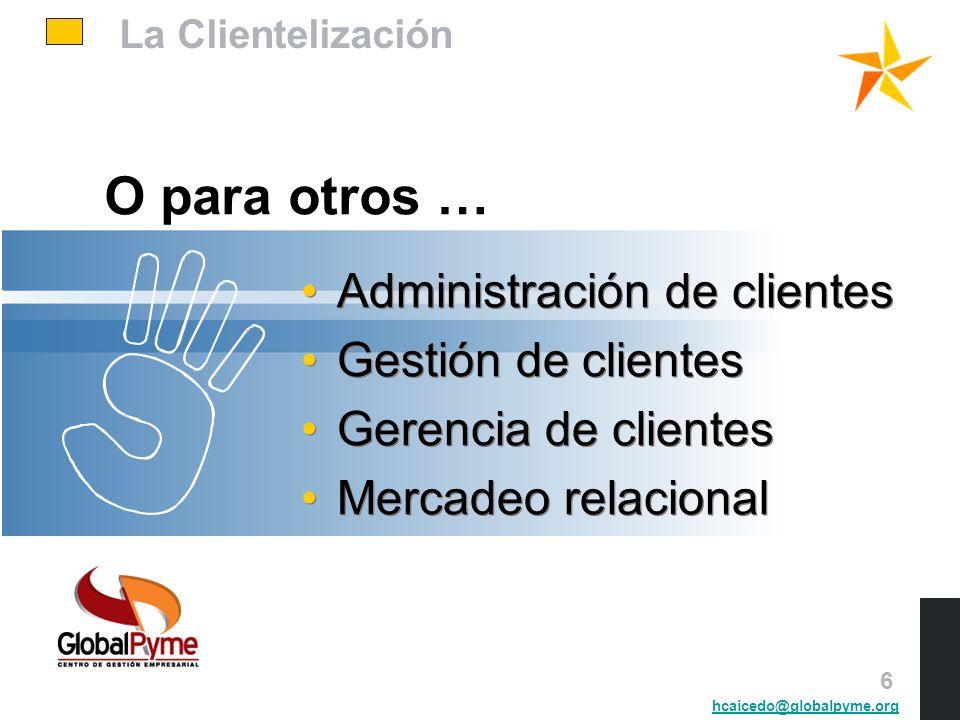 La Clientelización O para otros … Administración de clientes Gestión de clientes Gerencia de clientes Mercadeo relacional Administración de clientes G