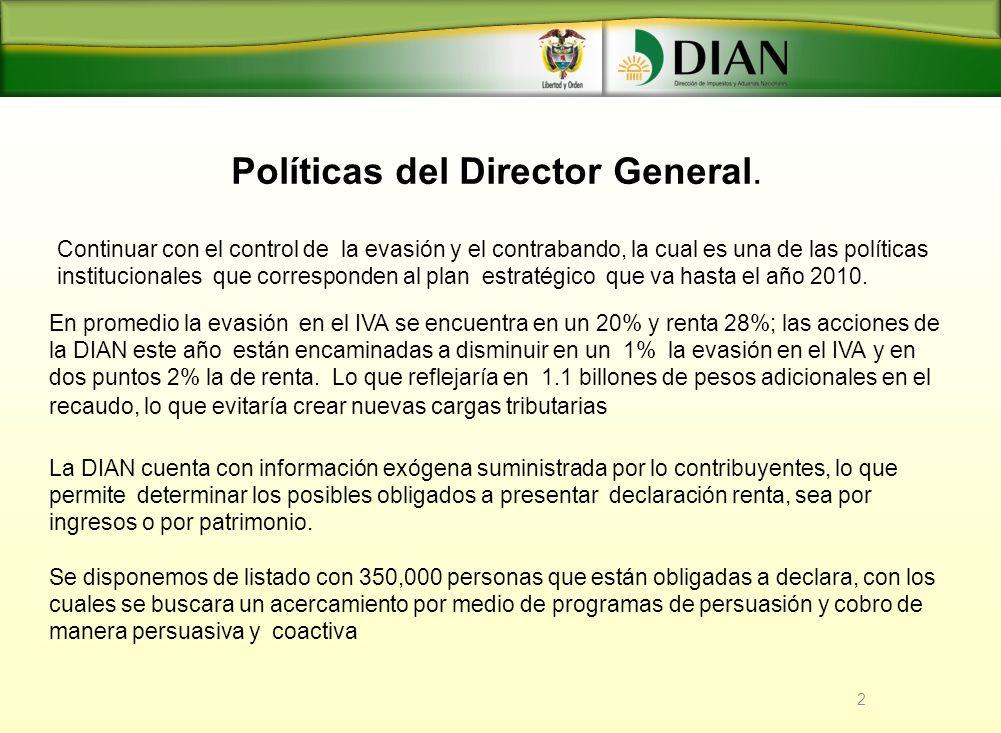 2 Políticas del Director General. Continuar con el control de la evasión y el contrabando, la cual es una de las políticas institucionales que corresp