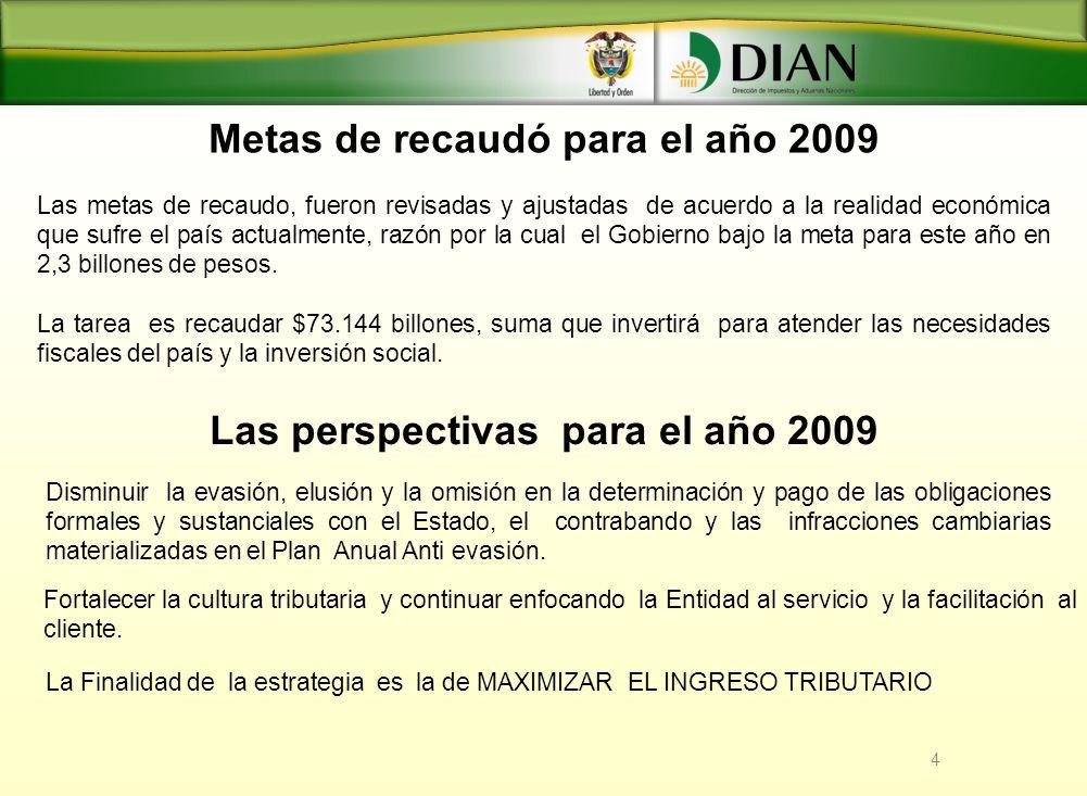 Metas de recaudó para el año 2009 4 Las metas de recaudo, fueron revisadas y ajustadas de acuerdo a la realidad económica que sufre el país actualment