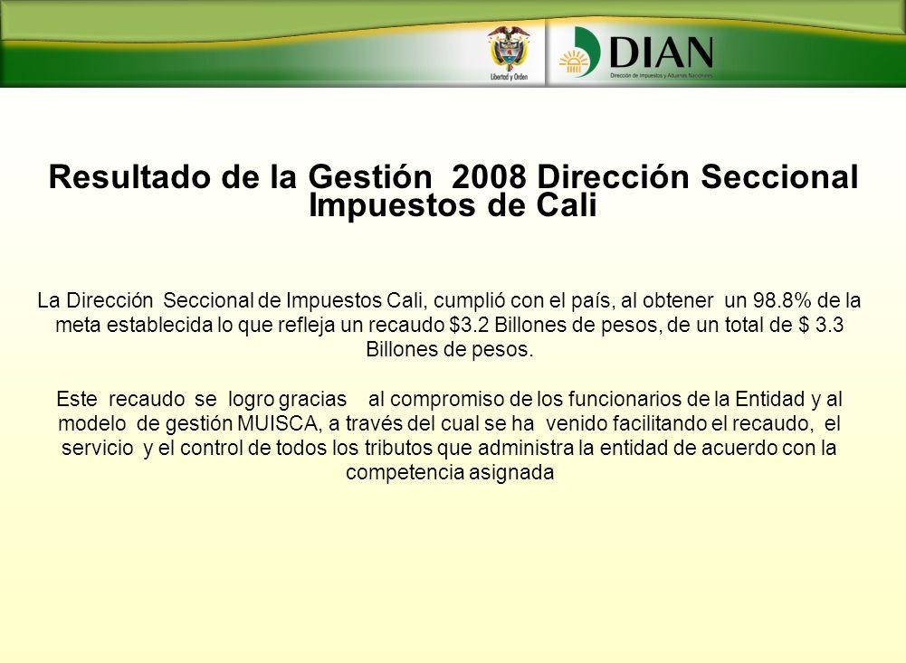 Resultado de la Gestión 2008 Dirección Seccional Impuestos de Cali La Dirección Seccional de Impuestos Cali, cumplió con el país, al obtener un 98.8%