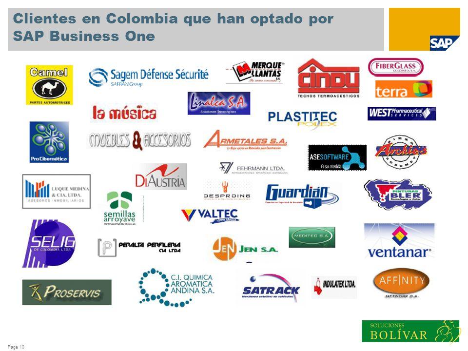 Page 10 Clientes en Colombia que han optado por SAP Business One