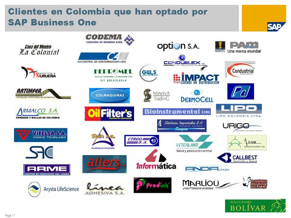 Page 11 Clientes en Colombia que han optado por SAP Business One
