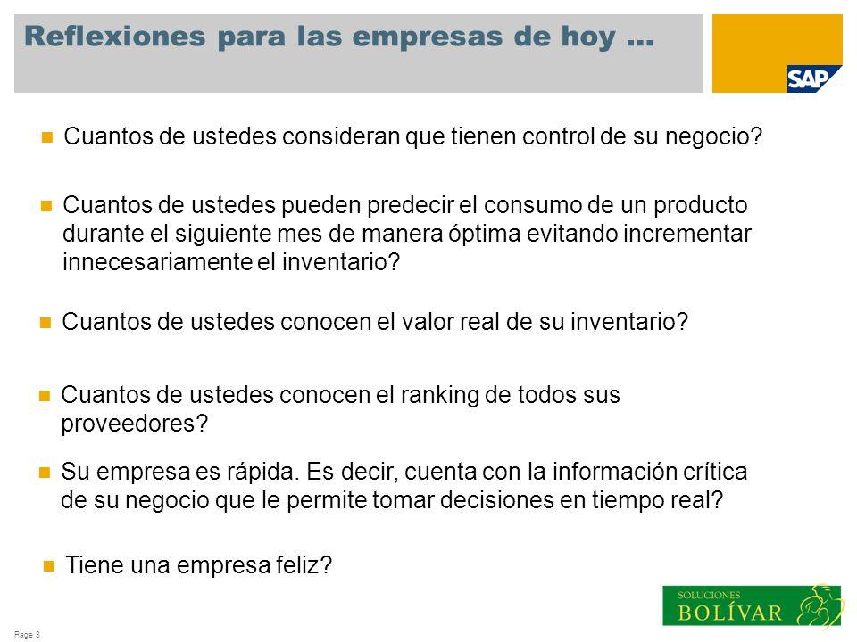 Page 3 Reflexiones para las empresas de hoy … Cuantos de ustedes pueden predecir el consumo de un producto durante el siguiente mes de manera óptima e