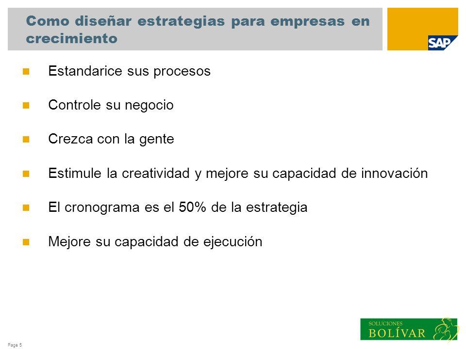 Page 5 Estandarice sus procesos Controle su negocio Crezca con la gente Estimule la creatividad y mejore su capacidad de innovación El cronograma es e