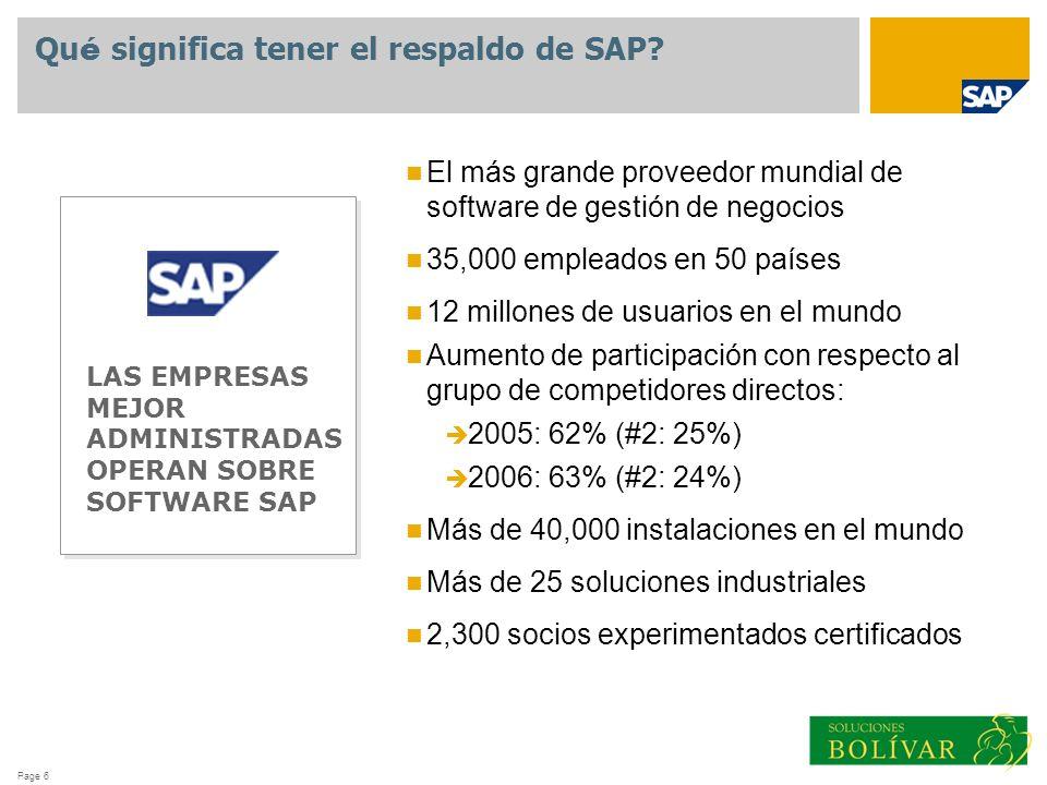 Page 6 Qu é significa tener el respaldo de SAP? LAS EMPRESAS MEJOR ADMINISTRADAS OPERAN SOBRE SOFTWARE SAP El más grande proveedor mundial de software