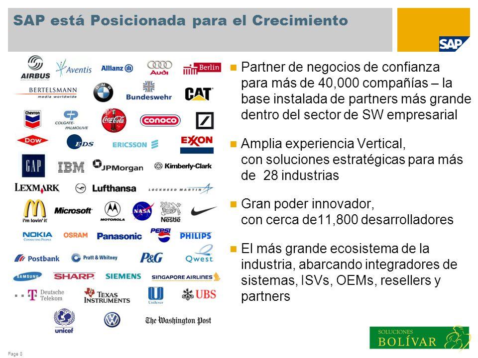 Page 8 SAP está Posicionada para el Crecimiento Partner de negocios de confianza para más de 40,000 compañías – la base instalada de partners más gran