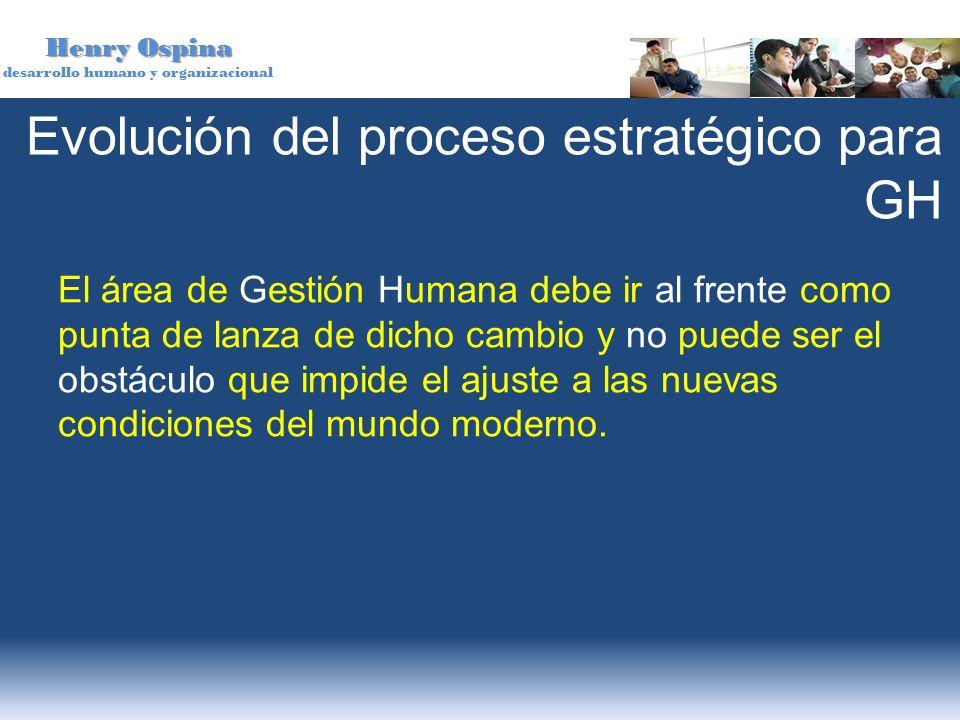 Henry Ospina desarrollo humano y organizacional El área de Gestión Humana debe ir al frente como punta de lanza de dicho cambio y no puede ser el obst