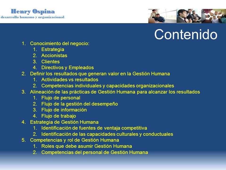Henry Ospina desarrollo humano y organizacional 1.Conocimiento del negocio: 1.Estrategia 2.Accionistas 3.Clientes 4.Directivos y Empleados 2.Definir l
