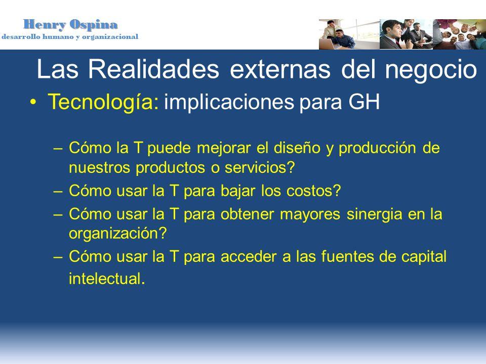 Henry Ospina desarrollo humano y organizacional Las Realidades externas del negocio Tecnología: implicaciones para GH –Cómo la T puede mejorar el dise