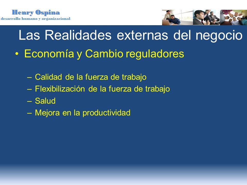 Henry Ospina desarrollo humano y organizacional Las Realidades externas del negocio Economía y Cambio reguladores –Calidad de la fuerza de trabajo –Fl