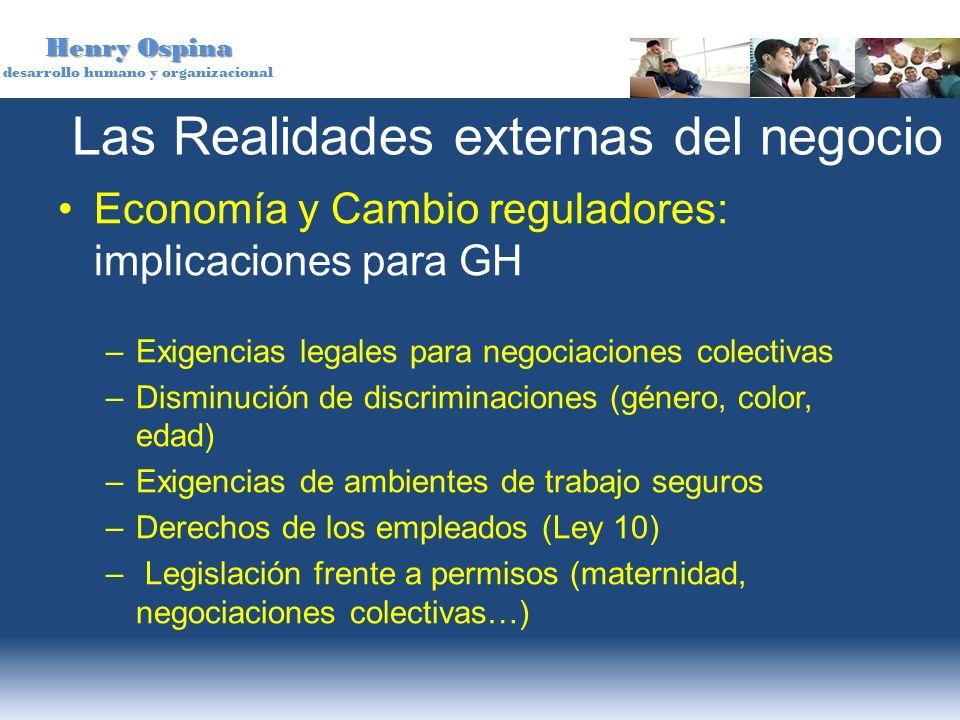 Henry Ospina desarrollo humano y organizacional Las Realidades externas del negocio Economía y Cambio reguladores: implicaciones para GH –Exigencias l