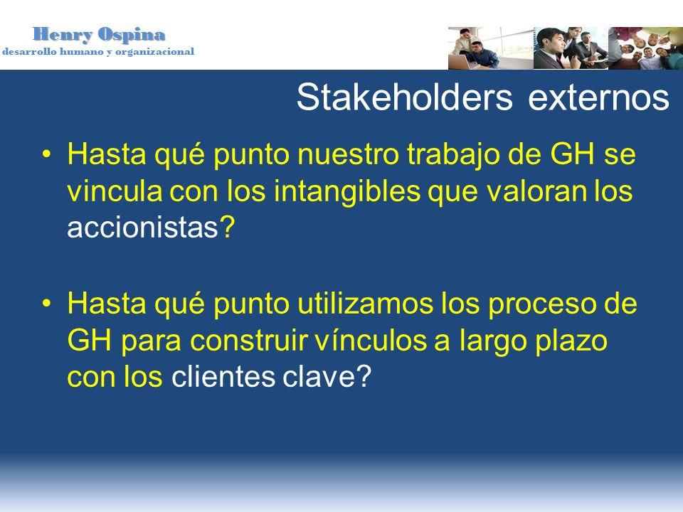 Henry Ospina desarrollo humano y organizacional Stakeholders externos Hasta qué punto nuestro trabajo de GH se vincula con los intangibles que valoran