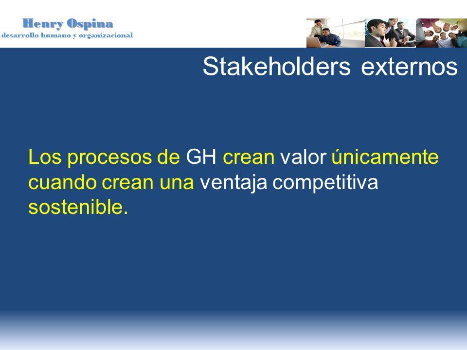 Henry Ospina desarrollo humano y organizacional Stakeholders externos Los procesos de GH crean valor únicamente cuando crean una ventaja competitiva s