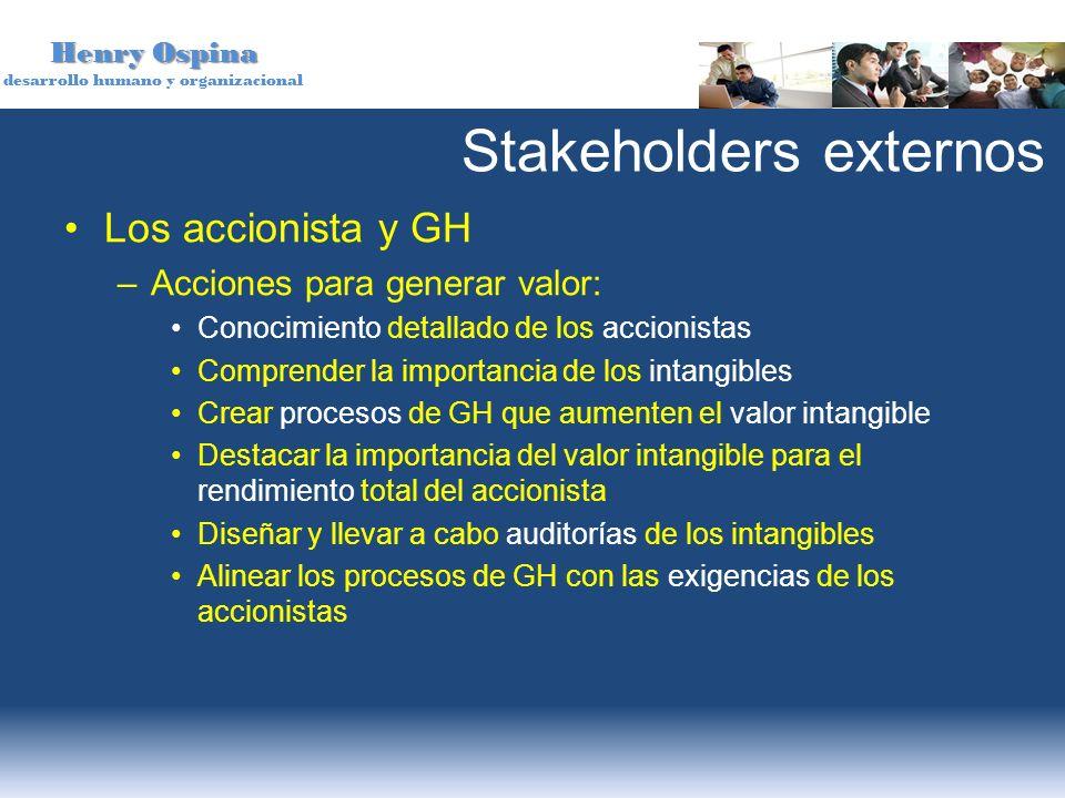 Henry Ospina desarrollo humano y organizacional Stakeholders externos Los accionista y GH –Acciones para generar valor: Conocimiento detallado de los