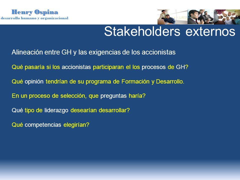 Henry Ospina desarrollo humano y organizacional Alineación entre GH y las exigencias de los accionistas Qué pasaría si los accionistas participaran el
