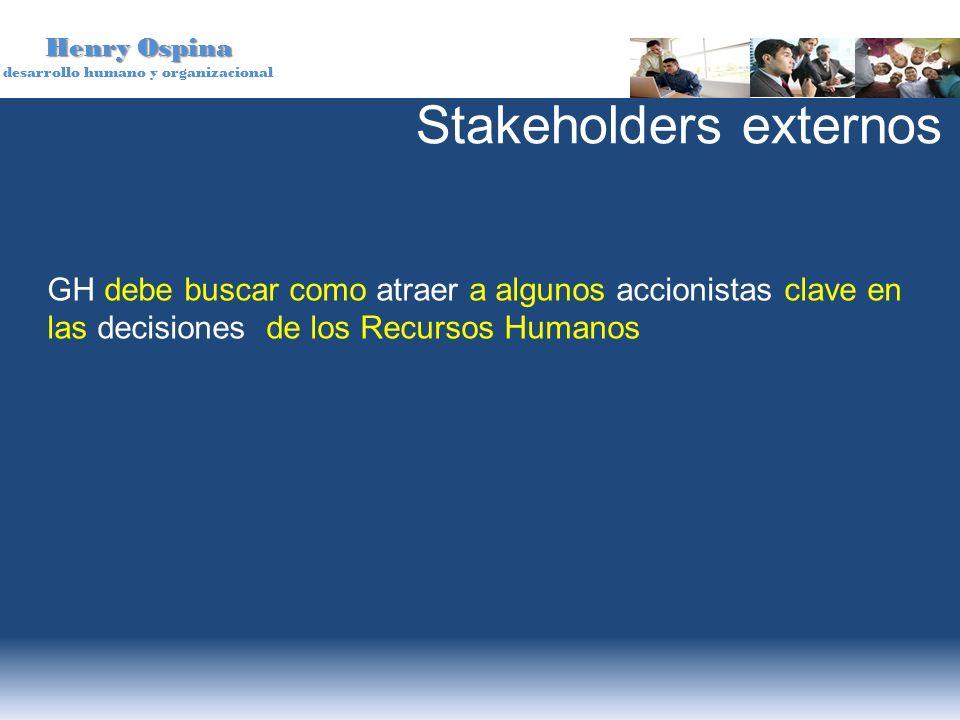 Henry Ospina desarrollo humano y organizacional GH debe buscar como atraer a algunos accionistas clave en las decisiones de los Recursos Humanos Stake