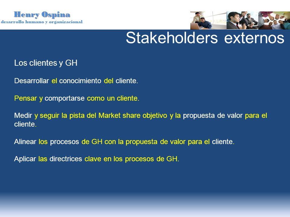Henry Ospina desarrollo humano y organizacional Los clientes y GH Desarrollar el conocimiento del cliente. Pensar y comportarse como un cliente. Medir