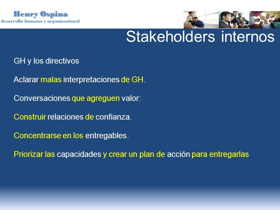 Henry Ospina desarrollo humano y organizacional GH y los directivos Aclarar malas interpretaciones de GH. Conversaciones que agreguen valor: Construir
