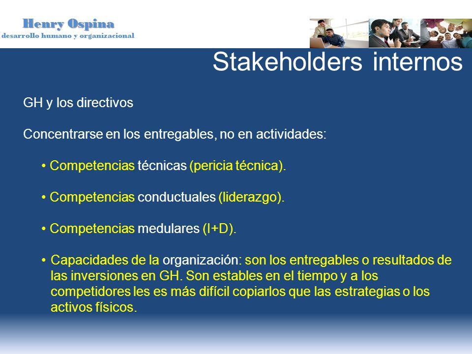 Henry Ospina desarrollo humano y organizacional GH y los directivos Concentrarse en los entregables, no en actividades: Competencias técnicas (pericia