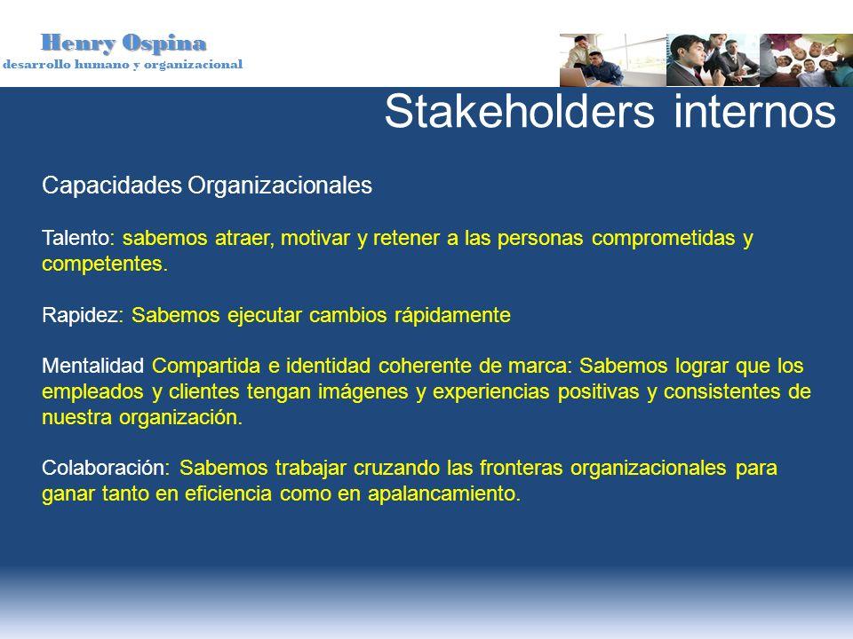 Henry Ospina desarrollo humano y organizacional Capacidades Organizacionales Talento: sabemos atraer, motivar y retener a las personas comprometidas y