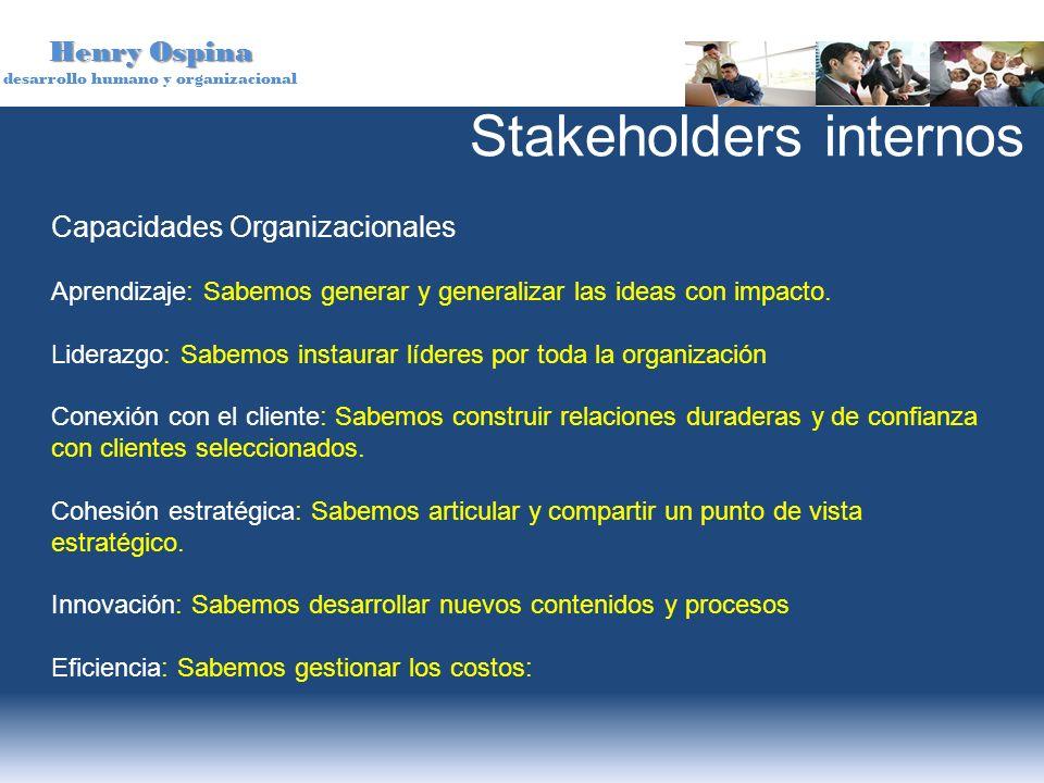 Henry Ospina desarrollo humano y organizacional Capacidades Organizacionales Aprendizaje: Sabemos generar y generalizar las ideas con impacto. Lideraz