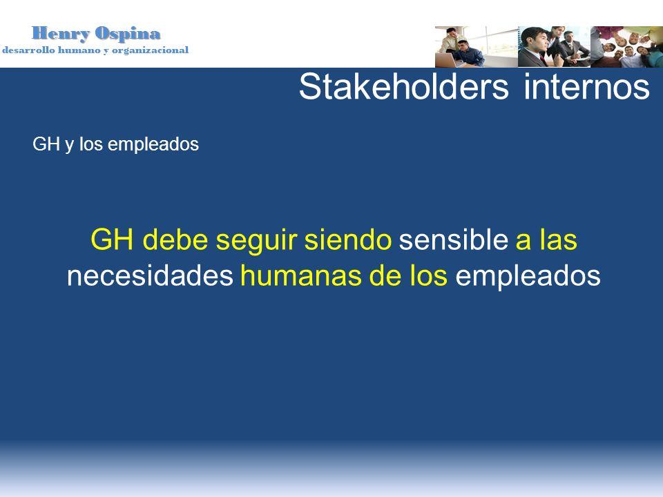 Henry Ospina desarrollo humano y organizacional GH y los empleados GH debe seguir siendo sensible a las necesidades humanas de los empleados Stakehold