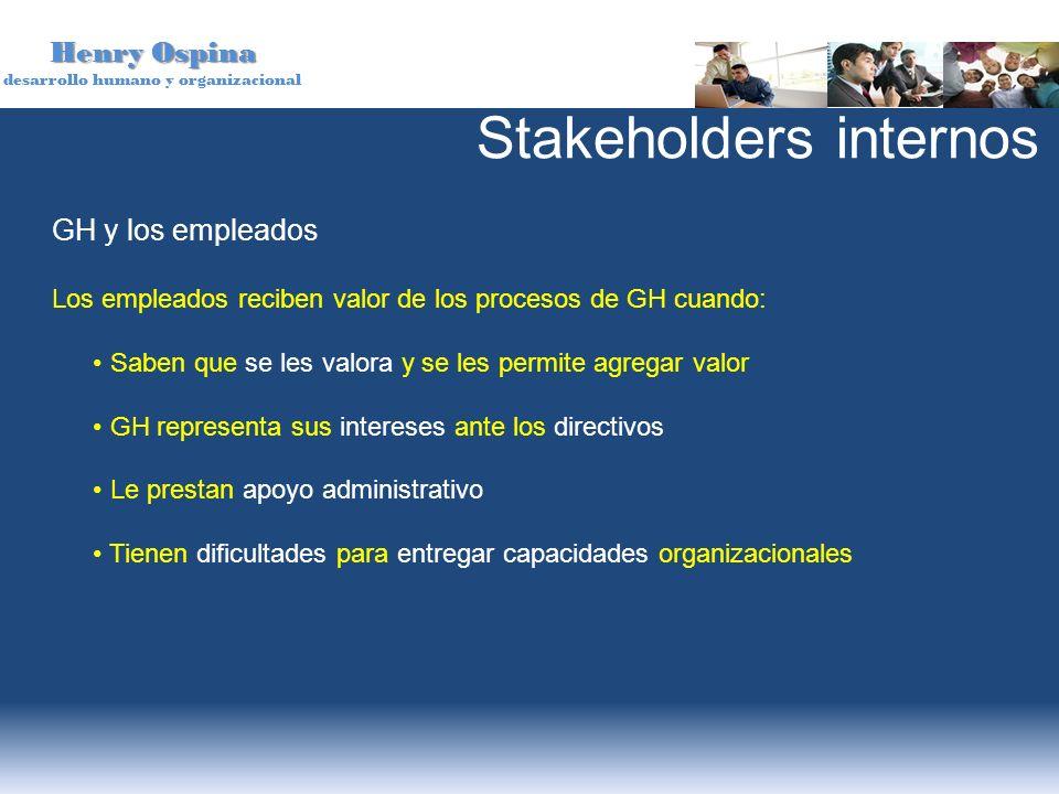 Henry Ospina desarrollo humano y organizacional GH y los empleados Los empleados reciben valor de los procesos de GH cuando: Saben que se les valora y