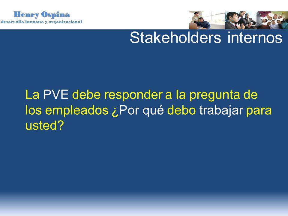 Henry Ospina desarrollo humano y organizacional La PVE debe responder a la pregunta de los empleados ¿Por qué debo trabajar para usted? Stakeholders i