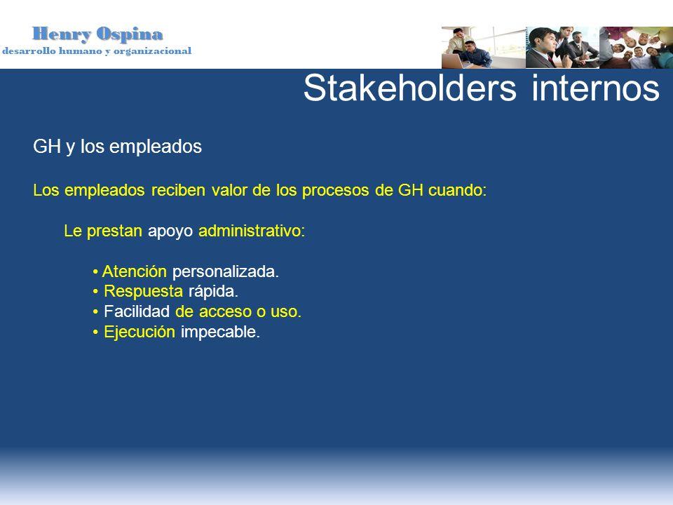 Henry Ospina desarrollo humano y organizacional GH y los empleados Los empleados reciben valor de los procesos de GH cuando: Le prestan apoyo administ