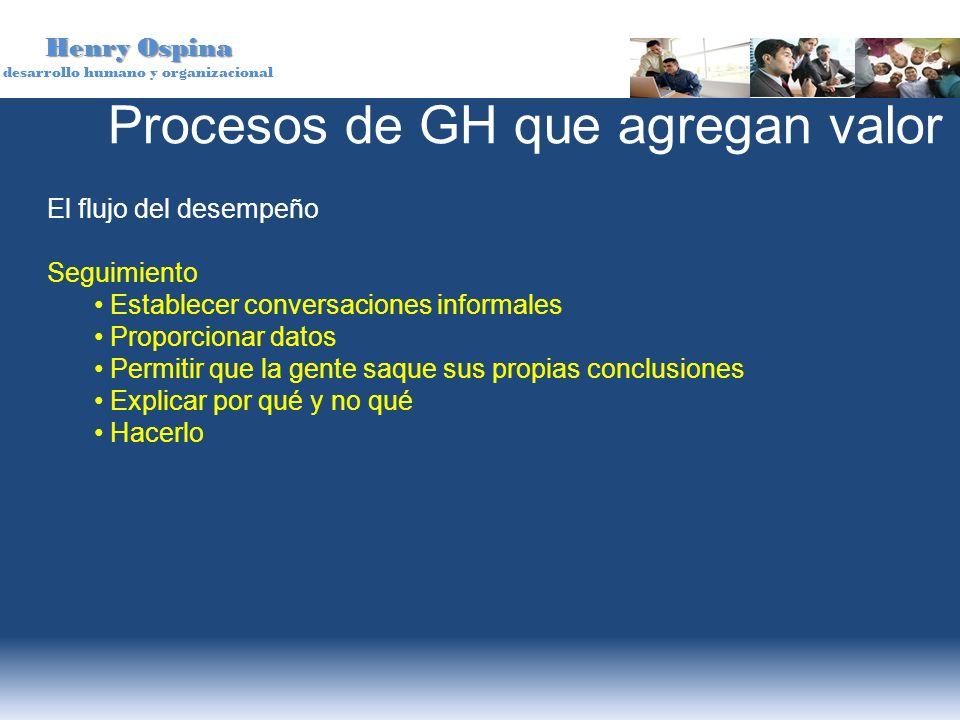 Henry Ospina desarrollo humano y organizacional El flujo del desempeño Seguimiento Establecer conversaciones informales Proporcionar datos Permitir qu