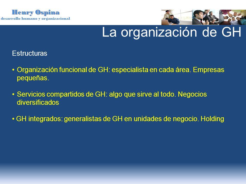 Henry Ospina desarrollo humano y organizacional Estructuras Organización funcional de GH: especialista en cada área. Empresas pequeñas. Servicios comp