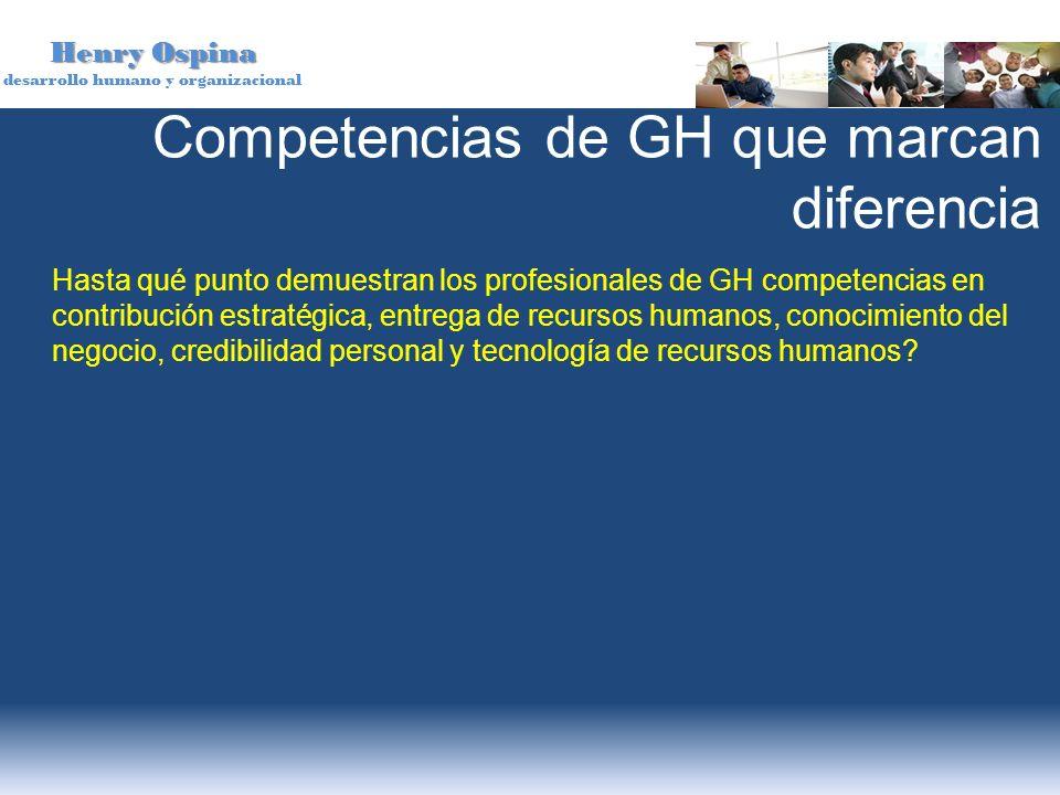 Henry Ospina desarrollo humano y organizacional Competencias de GH que marcan diferencia Hasta qué punto demuestran los profesionales de GH competenci