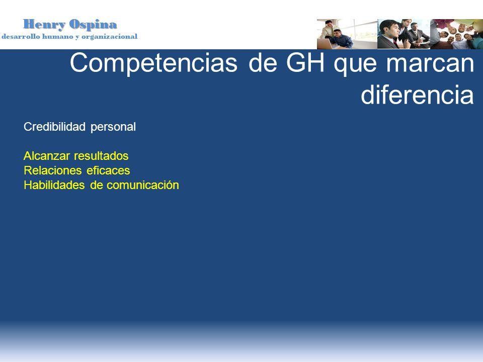 Henry Ospina desarrollo humano y organizacional Competencias de GH que marcan diferencia Credibilidad personal Alcanzar resultados Relaciones eficaces