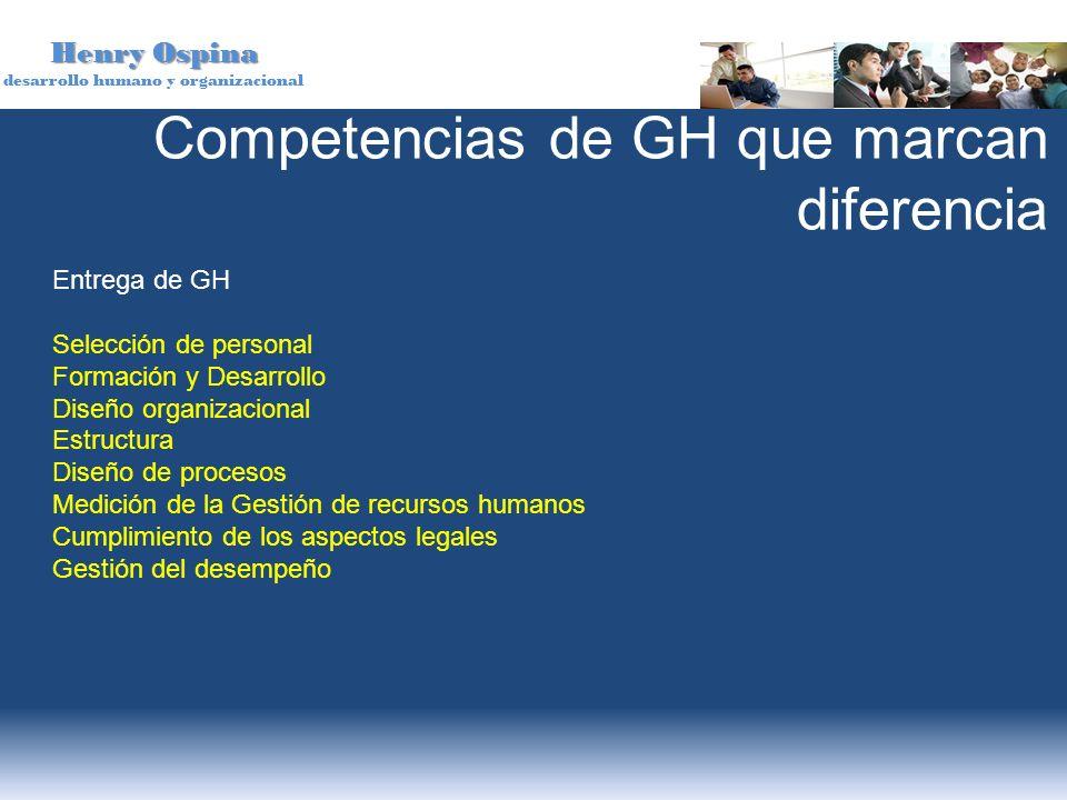 Henry Ospina desarrollo humano y organizacional Competencias de GH que marcan diferencia Entrega de GH Selección de personal Formación y Desarrollo Di
