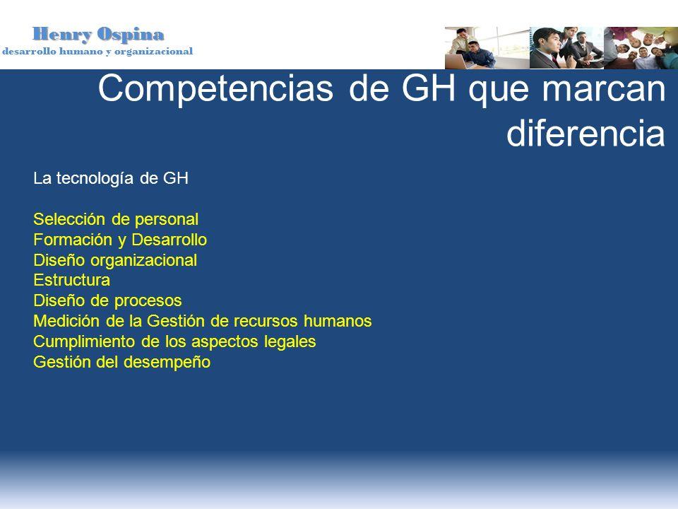 Henry Ospina desarrollo humano y organizacional Competencias de GH que marcan diferencia La tecnología de GH Selección de personal Formación y Desarro