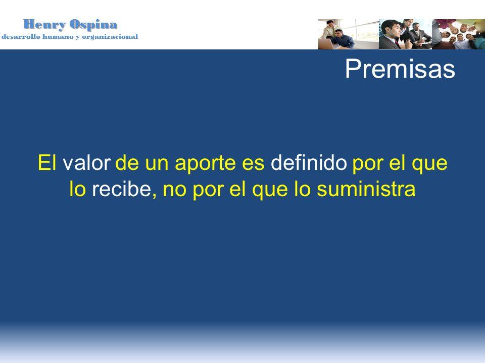 Henry Ospina desarrollo humano y organizacional Premisas El valor de un aporte es definido por el que lo recibe, no por el que lo suministra