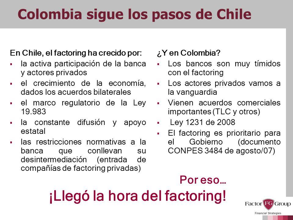 Colombia sigue los pasos de Chile En Chile, el factoring ha crecido por: la activa participación de la banca y actores privados el crecimiento de la e