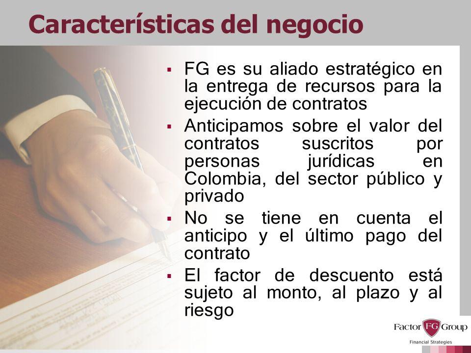 Características del negocio FG es su aliado estratégico en la entrega de recursos para la ejecución de contratos Anticipamos sobre el valor del contra