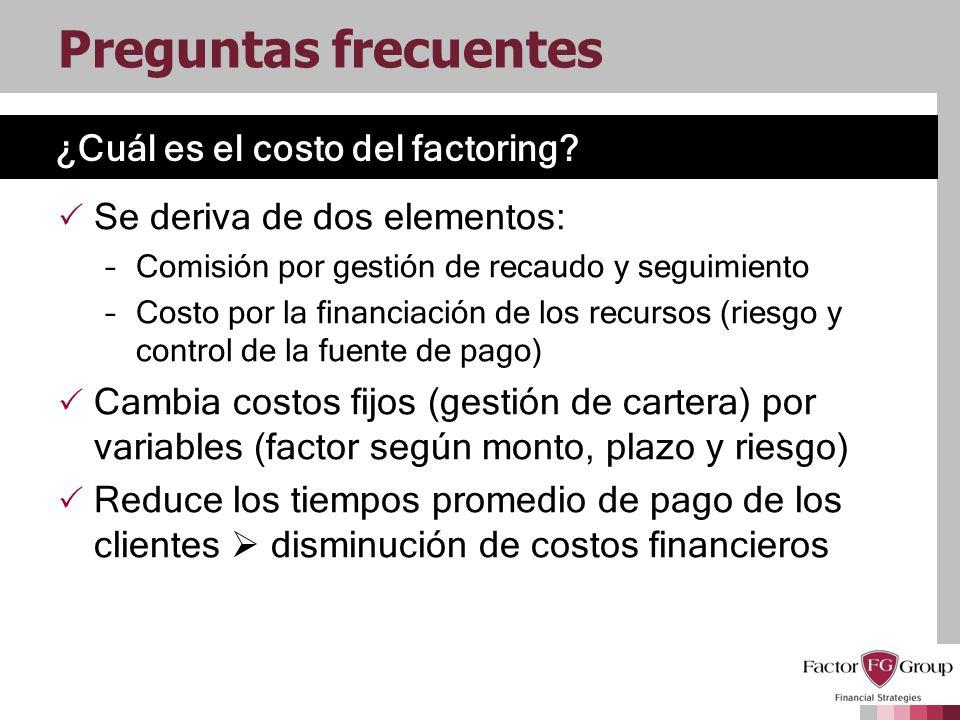 ¿Cuál es el costo del factoring? Preguntas frecuentes Se deriva de dos elementos: –Comisión por gestión de recaudo y seguimiento –Costo por la financi