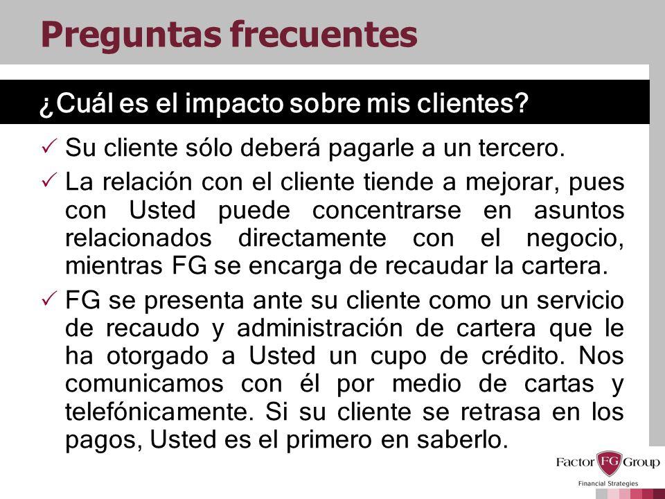 ¿Cuál es el impacto sobre mis clientes? Preguntas frecuentes Su cliente sólo deberá pagarle a un tercero. La relación con el cliente tiende a mejorar,