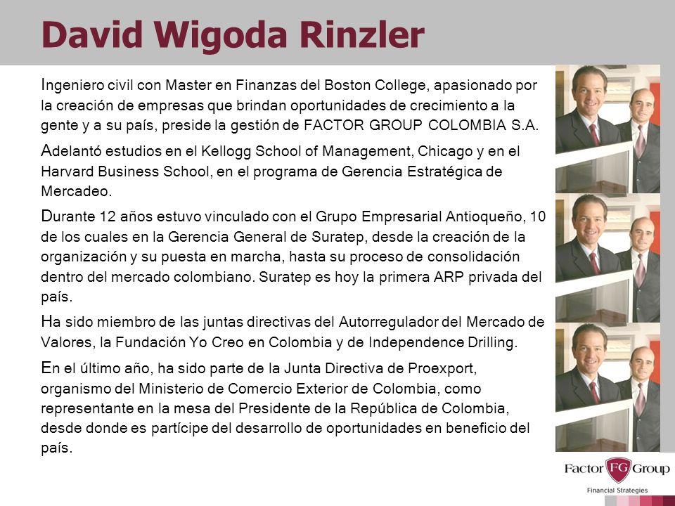 David Wigoda Rinzler I ngeniero civil con Master en Finanzas del Boston College, apasionado por la creación de empresas que brindan oportunidades de c